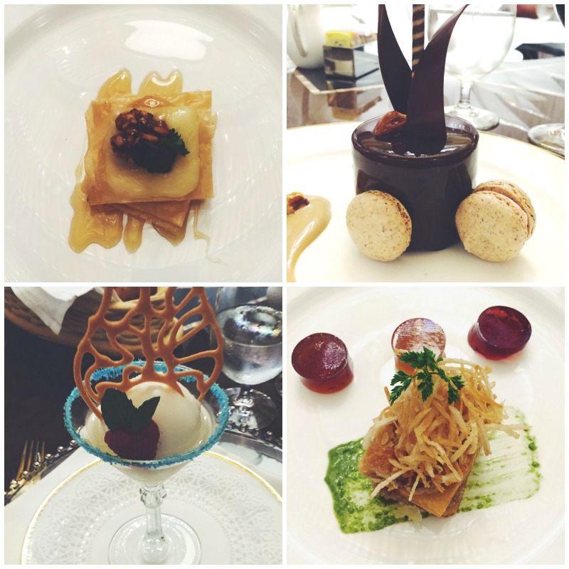 collage of four desserts