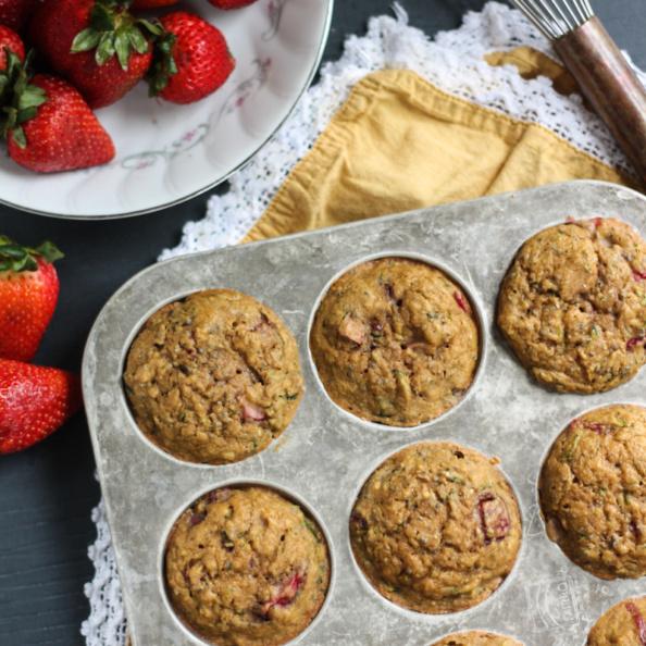 Chia, Lemon & Strawberry Zucchini Muffins in a muffin tin