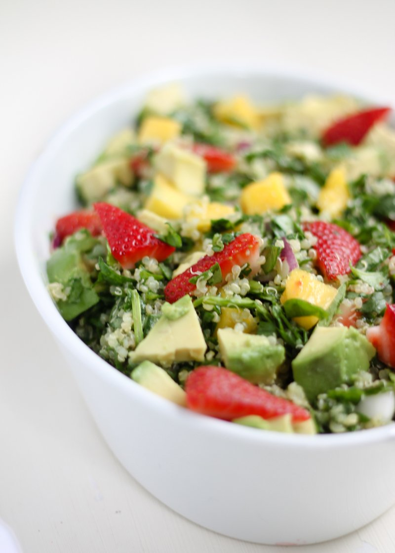 Strawberry  Mango Chopped Spinach Quinoa Salad with Sesame-Lime
