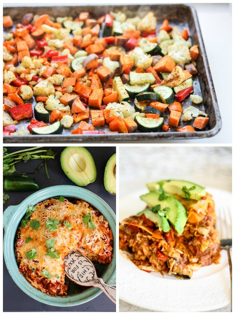 Roasted Veggie, Sweet Potato & Black Bean Tortilla Pie   Ambitious ...