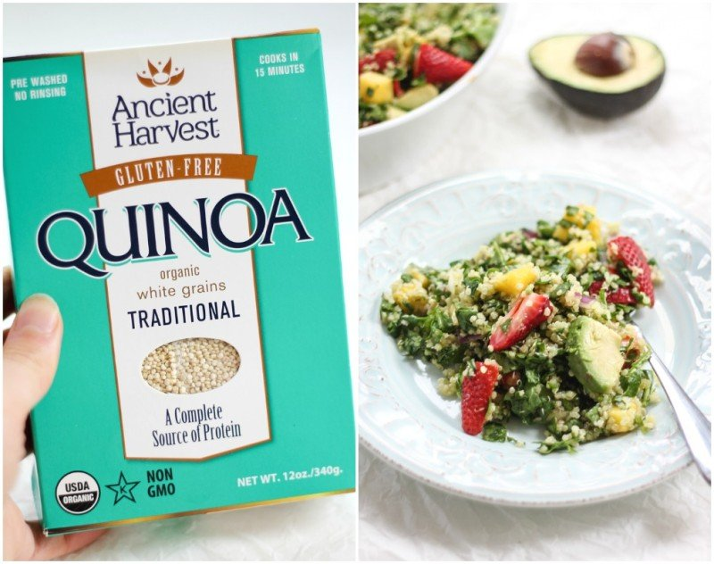 collage of spinach quinoa salad and box of quinoa