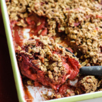 Lightened-up Vanilla Strawberry Rhubarb Crisp (vegan, gluten free)