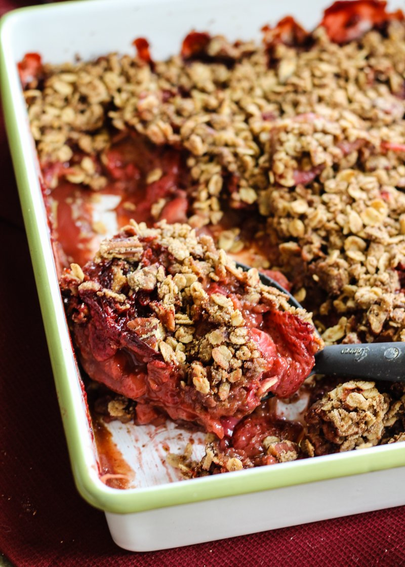 lightened up version of everyone's favorite strawberry rhubarb crisp ...