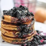 Fluffy Coconut Flour Pancakes with Wild Blueberry Maple Syrup