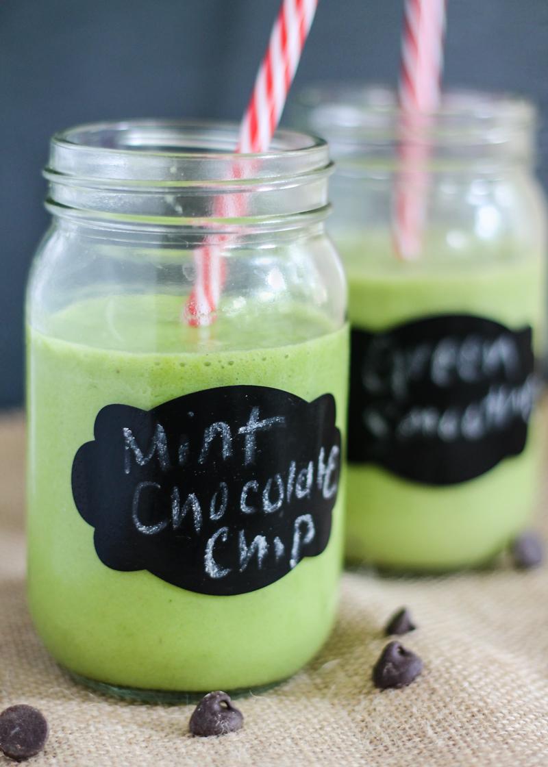cacao nib green smoothies in mason jars