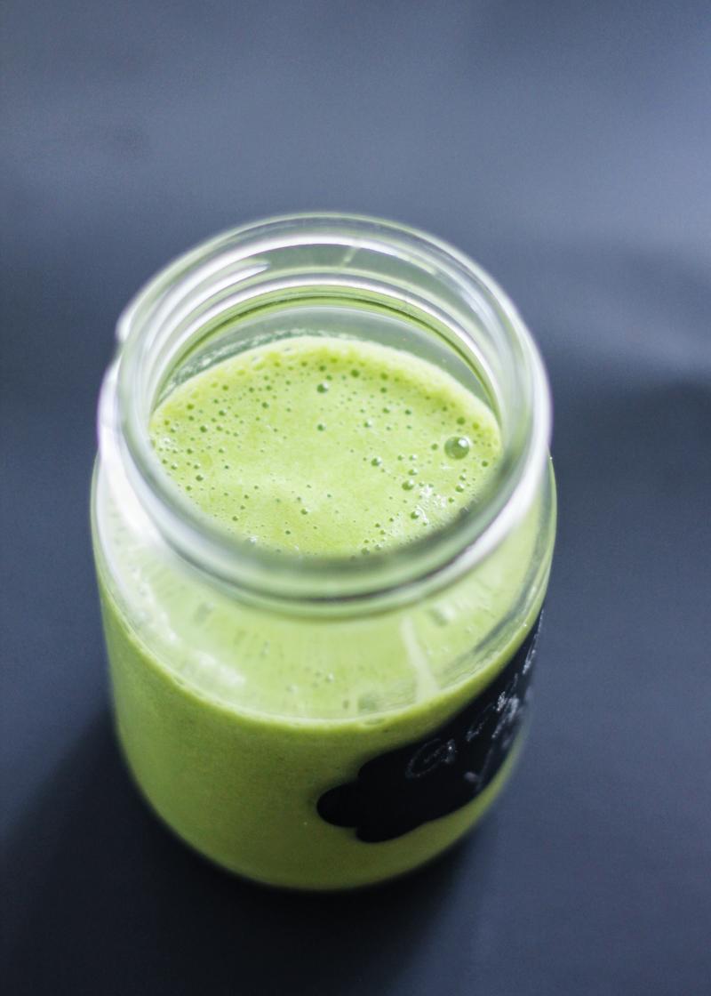 cacao nib green smoothie in mason jar