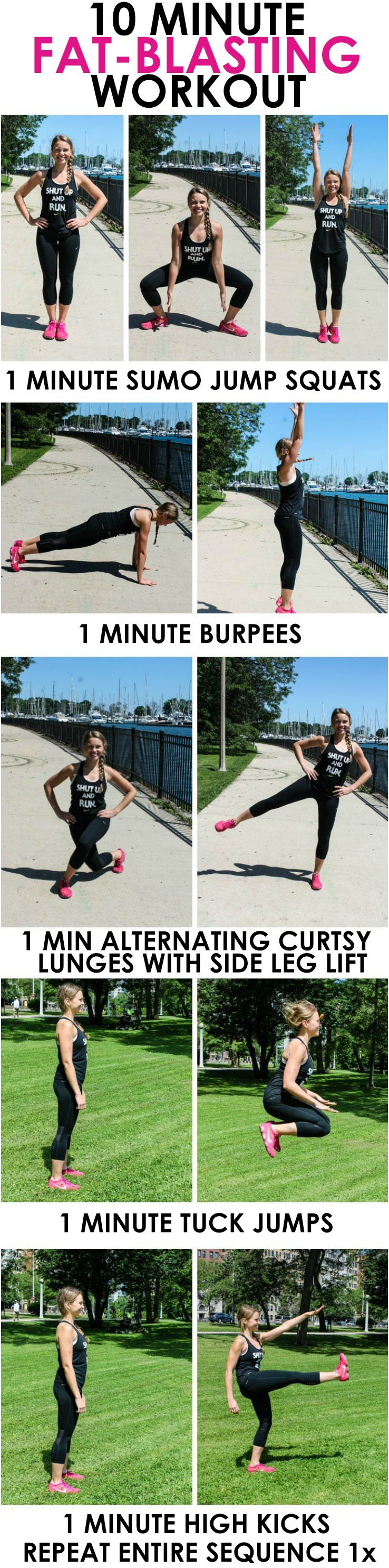 collage of 10 Minute Fat-Burning Workout moves