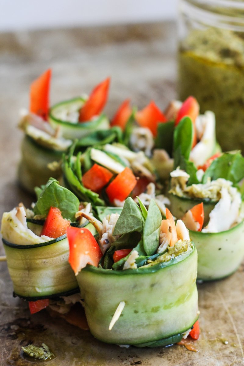 cucumber roll ups with turkey, cheese, and veggies