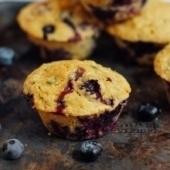zucchini cornbread muffins with blueberries