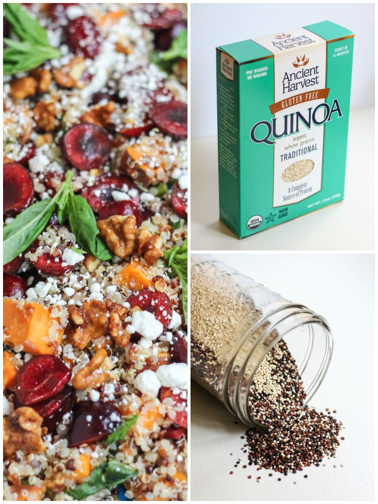 A nutritious sweet potato quinoa salad loaded with anti-inflammatory cherries then garnished with goat cheese and lightly candied walnuts. Incredible!