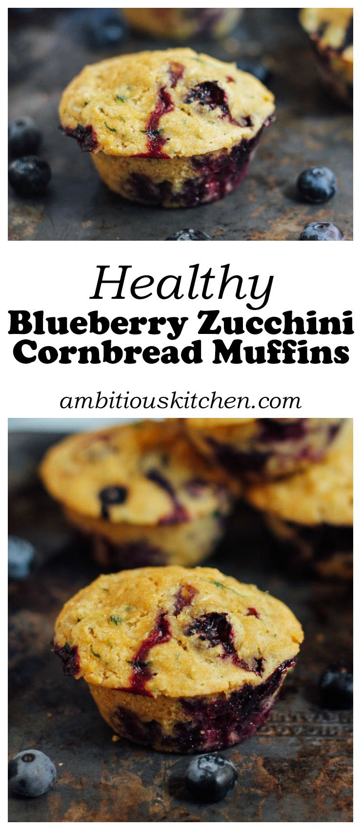 collage of zucchini cornbread muffins with blueberries