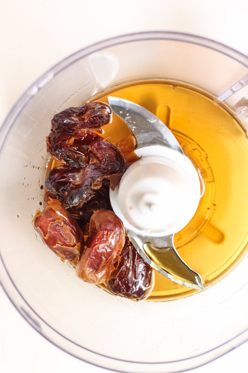 dates and maple syrup in food processor