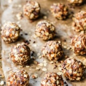 Looking for a healthy snack? Try these healthy NO BAKE energy bites that taste like an oatmeal peanut butter cookie. The chia & cacao nibs add nutrition, fiber & protein!
