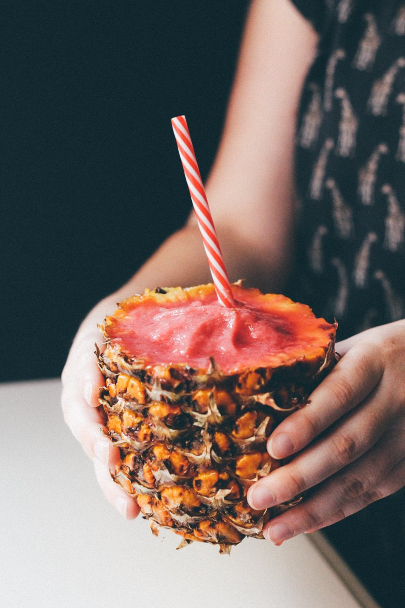 Incredible 4 ingredient watermelon raspberry pineapple smoothie