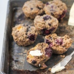 oat bran muffins with blackberries and peaches