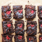 chocolate zucchini brownies with raspberries