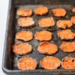 homemade baked sweet potato chips on baking sheet