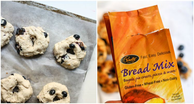 collage of homemade blueberry bagels and bread mix package