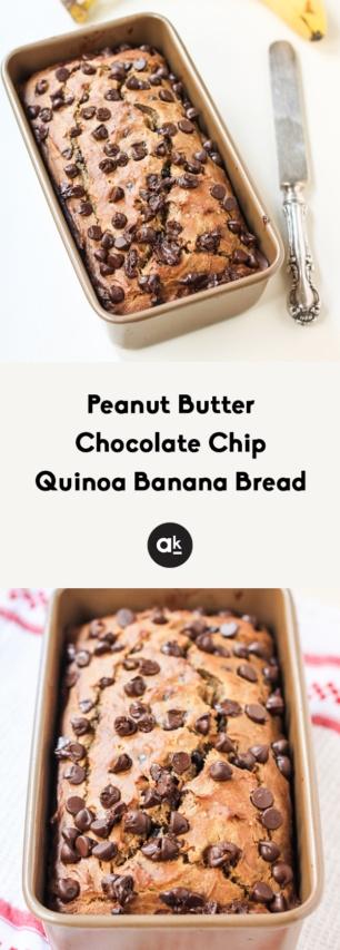 collage of quinoa banana bread