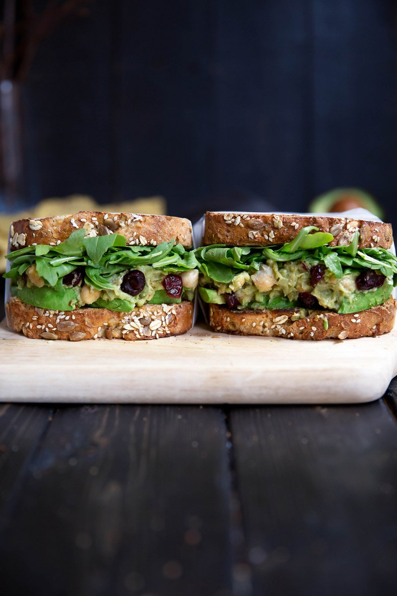 two chickpea avocado salad sandwiches