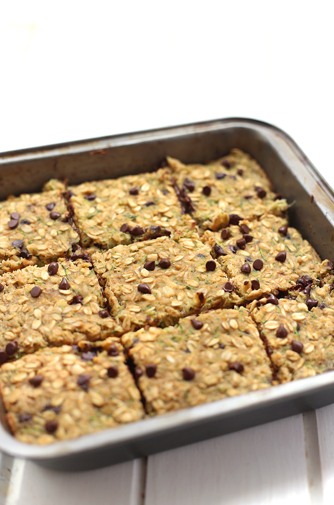 pan of Chocolate Chip Zucchini Bread Oatmeal Bars