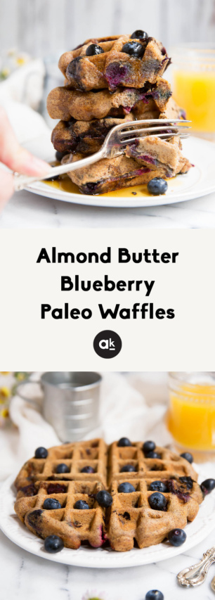 collage of paleo waffles
