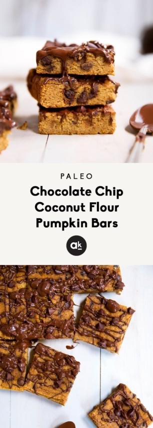 collage of coconut flour pumpkin bars
