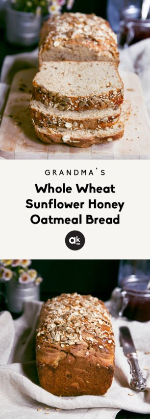 collage of grandma's honey oat bread