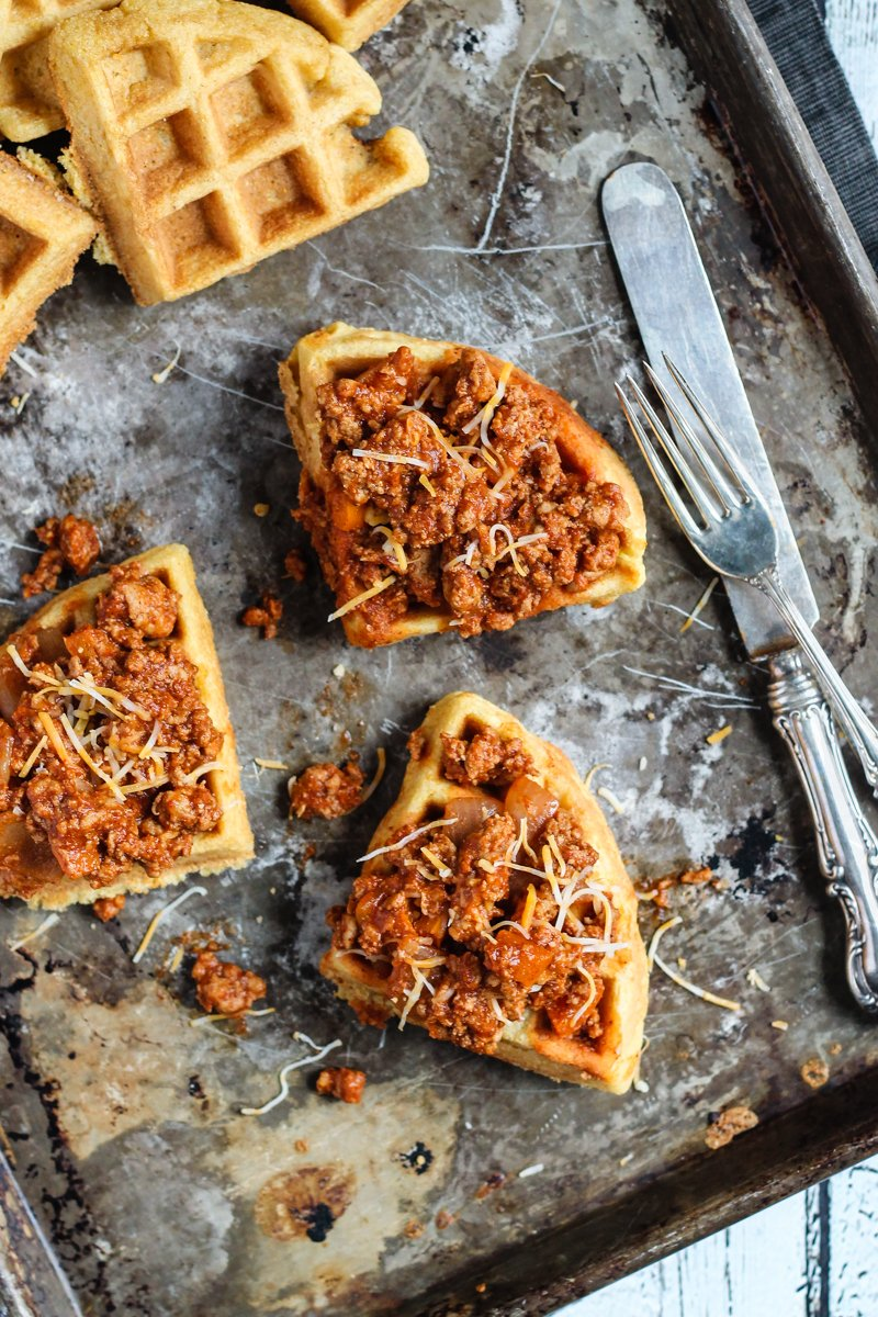 Spicy, healthy turkey sloppy joes on delicious fluffy whole wheat cornbread waffles. Yes, comfort food can be good for you!