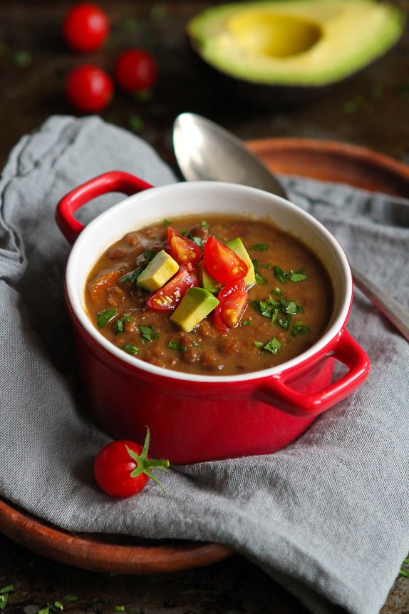 bowl of chipotle lentil soup with napkin