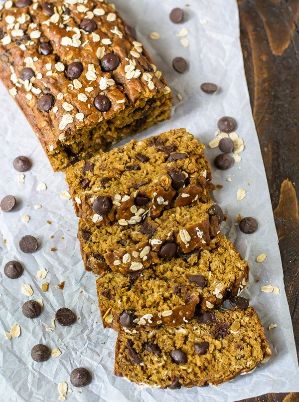 loaf of pumpkin chocolate chip bread with oats
