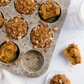 pumpkin banana muffins with crumble on top