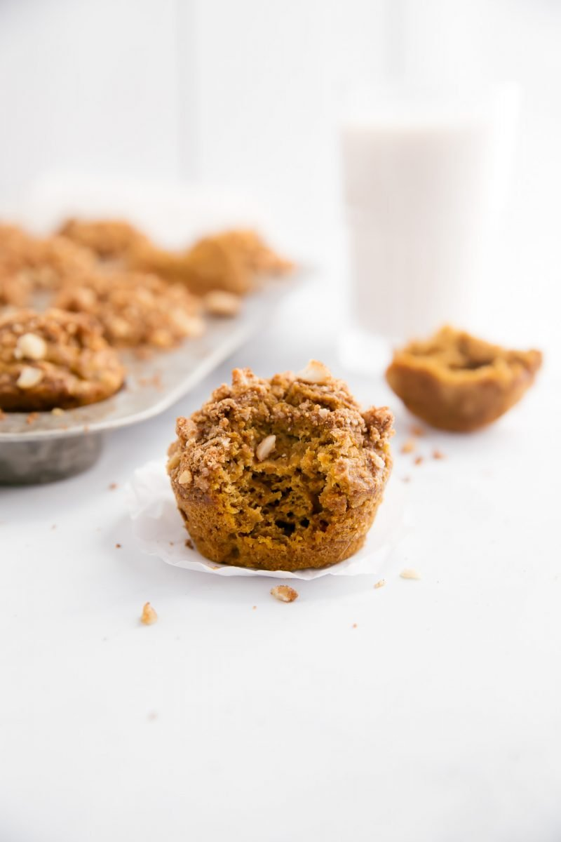 pumpkin banana muffin with crumble on top