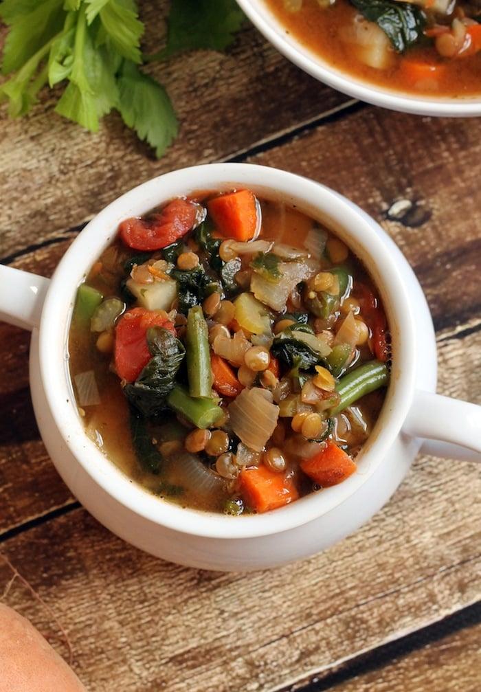 bowl of Lentil Vegetable Soup