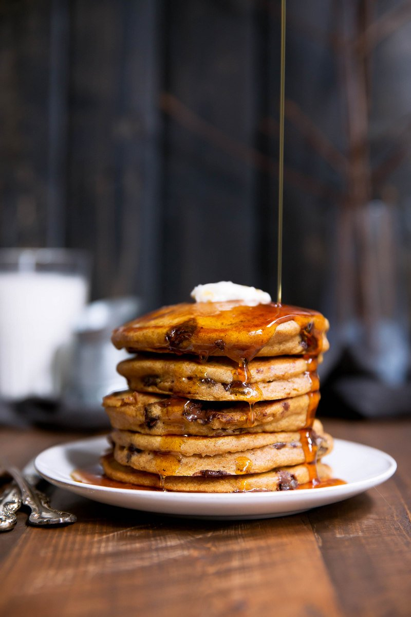 stack of pumpkin chocolate chip pancakes