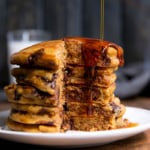 Healthy Whole Wheat Pumpkin Chocolate Chip Pancakes