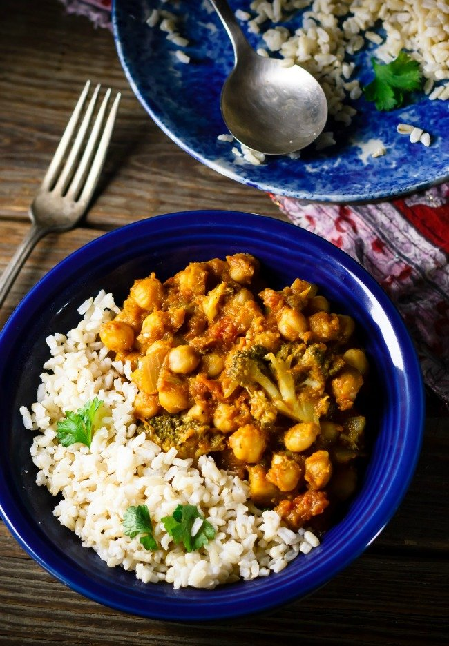 pumpkin, chickpea, curry, and rice bowl