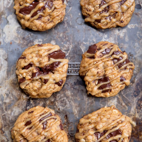 whole wheat chocolate chip oatmeal cookies with date caramel glaze