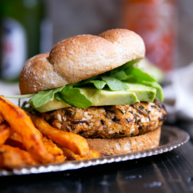 veggie wild rice burger with sweet potato fries