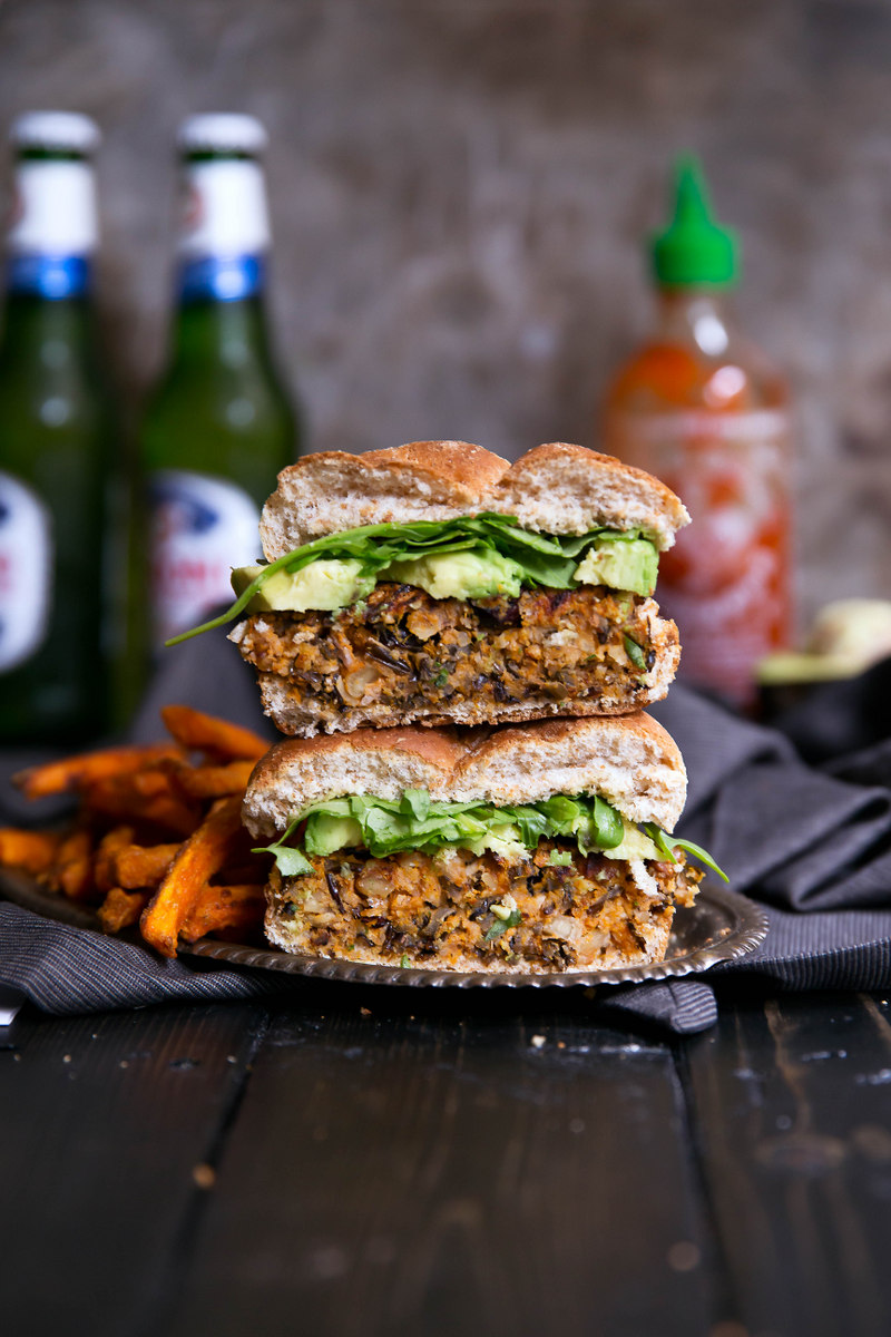 stacked veggie wild rice burgers