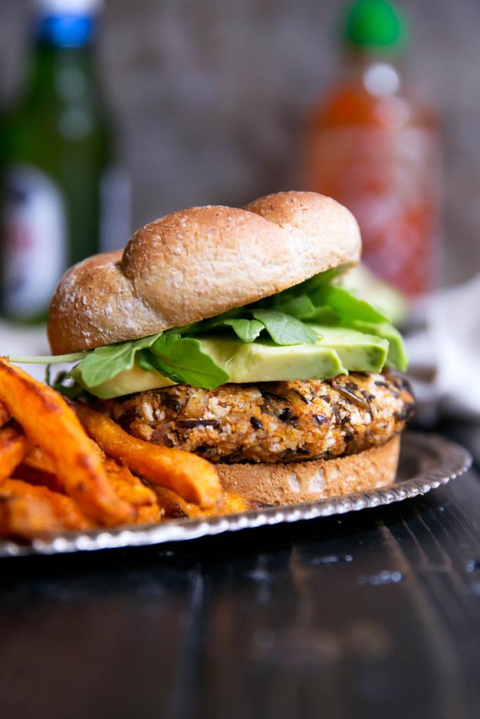 Vegan Curry-Spiced Sweet Potato & Wild Rice Burgers