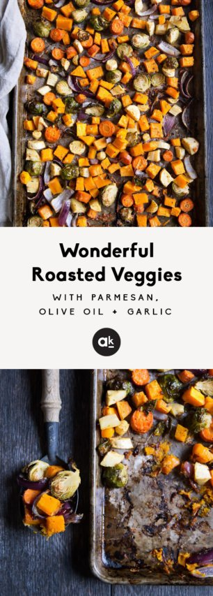 collage of roasted veggies