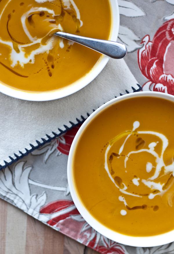 bowls of acorn squash and sweet potato soup