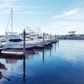 boats on marina in pensacola, florida