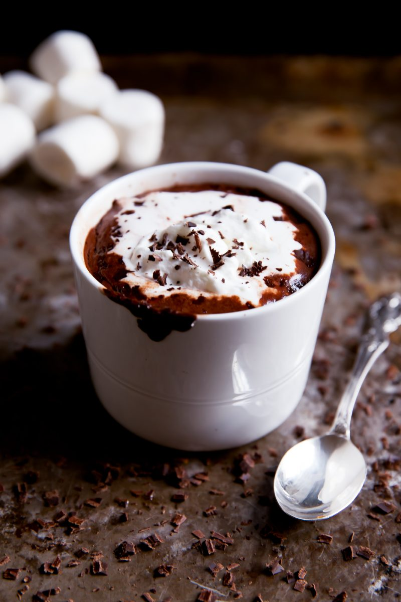 mug of coconut milk hot chocolate with whipped cream