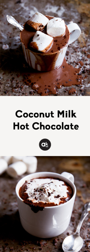 collage of coconut milk hot chocolate with whipped cream