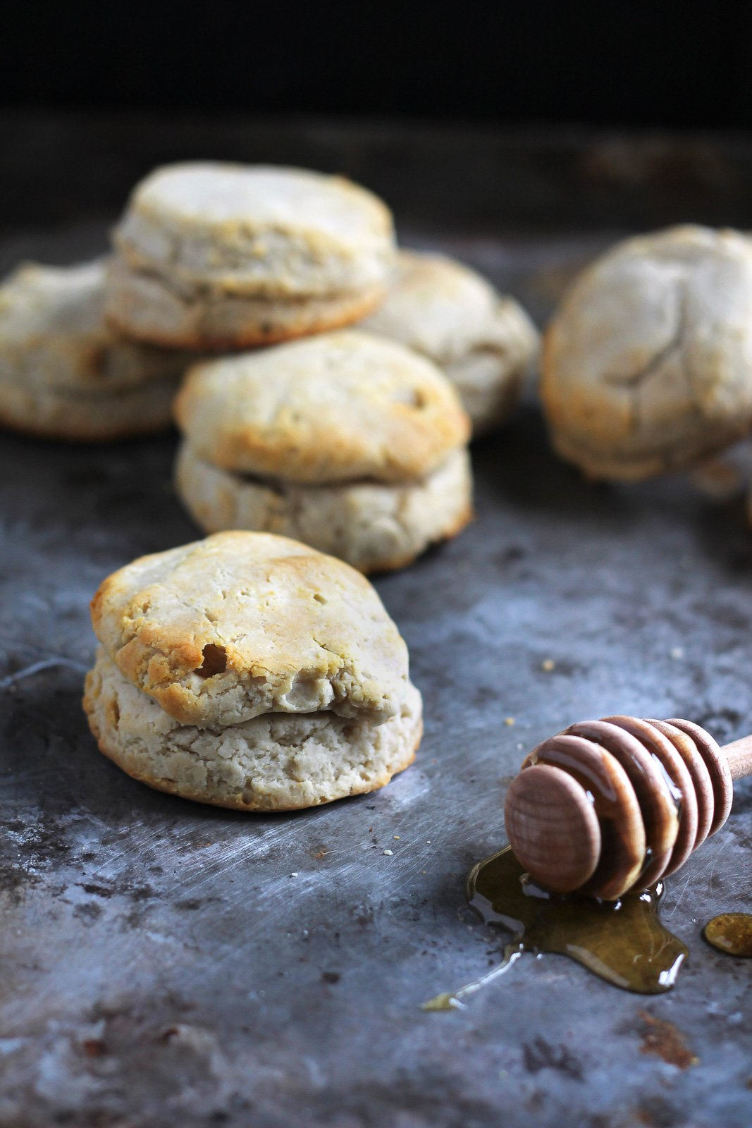 Delicious fluffy biscuits that are both dairy free and gluten free! These are amazing with fresh raspberry jam or a drizzle of honey on top.