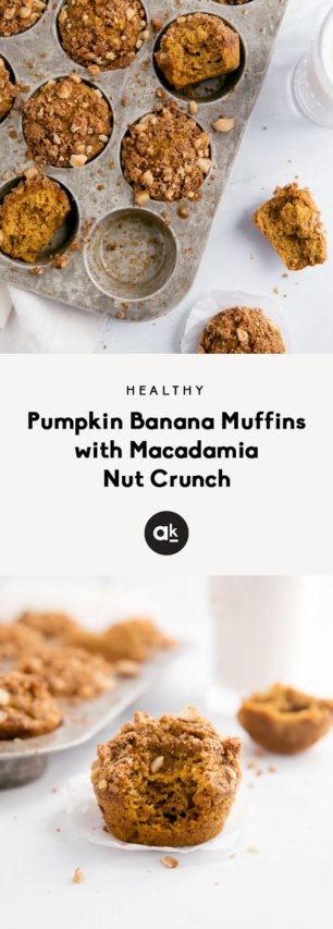 collage of pumpkin banana muffins with crumble on top