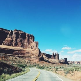 road and landscape in Moab, Utah