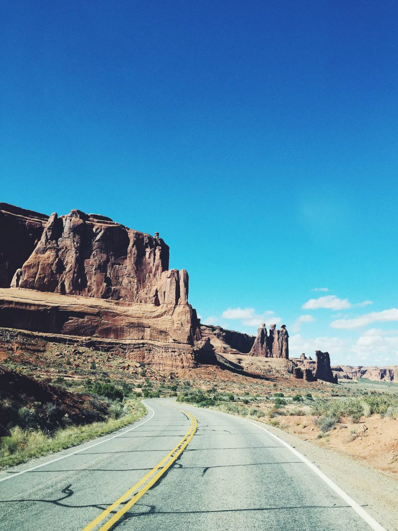 road and rock formations in Moab, Utah
